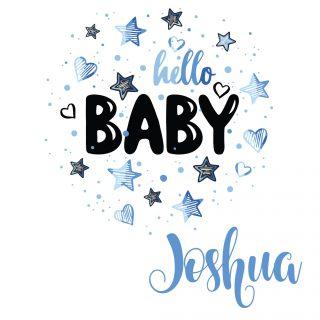 Geboortesticker | Hello blauw